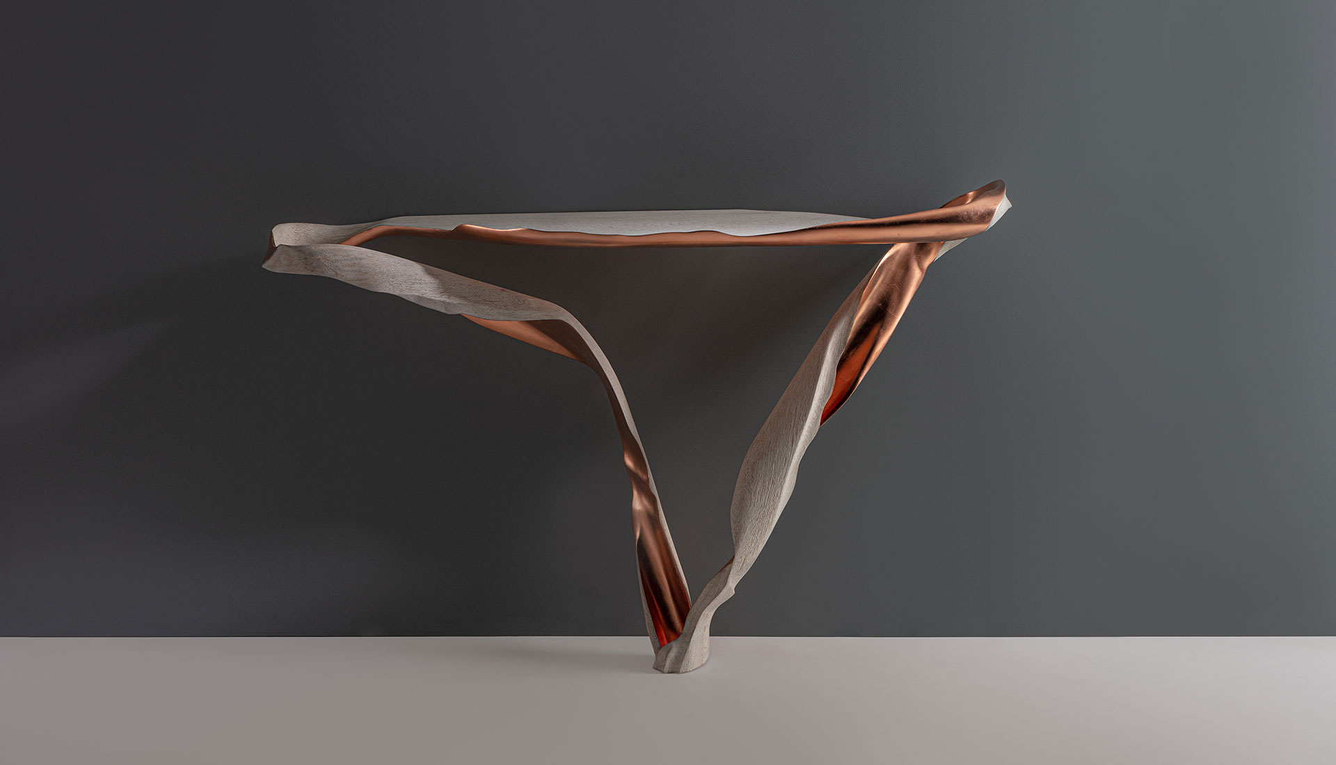 Marc Fish Copper and Weathered Oak Console
